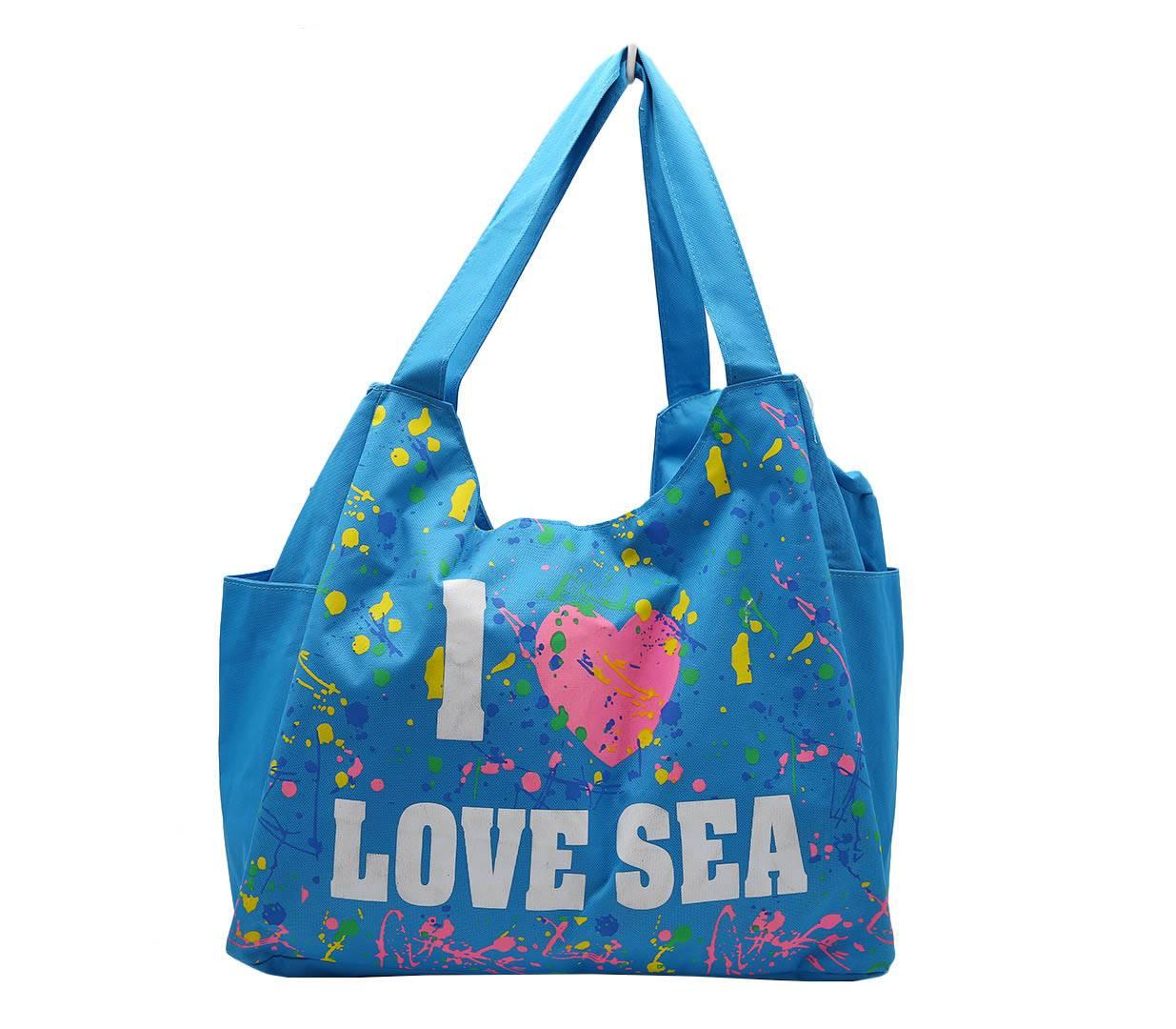 dfc64aa03fa2 Пляжная сумка I Love Sea. Главная  Сезонная продукция  Для моря  Разноцветные  летние ...