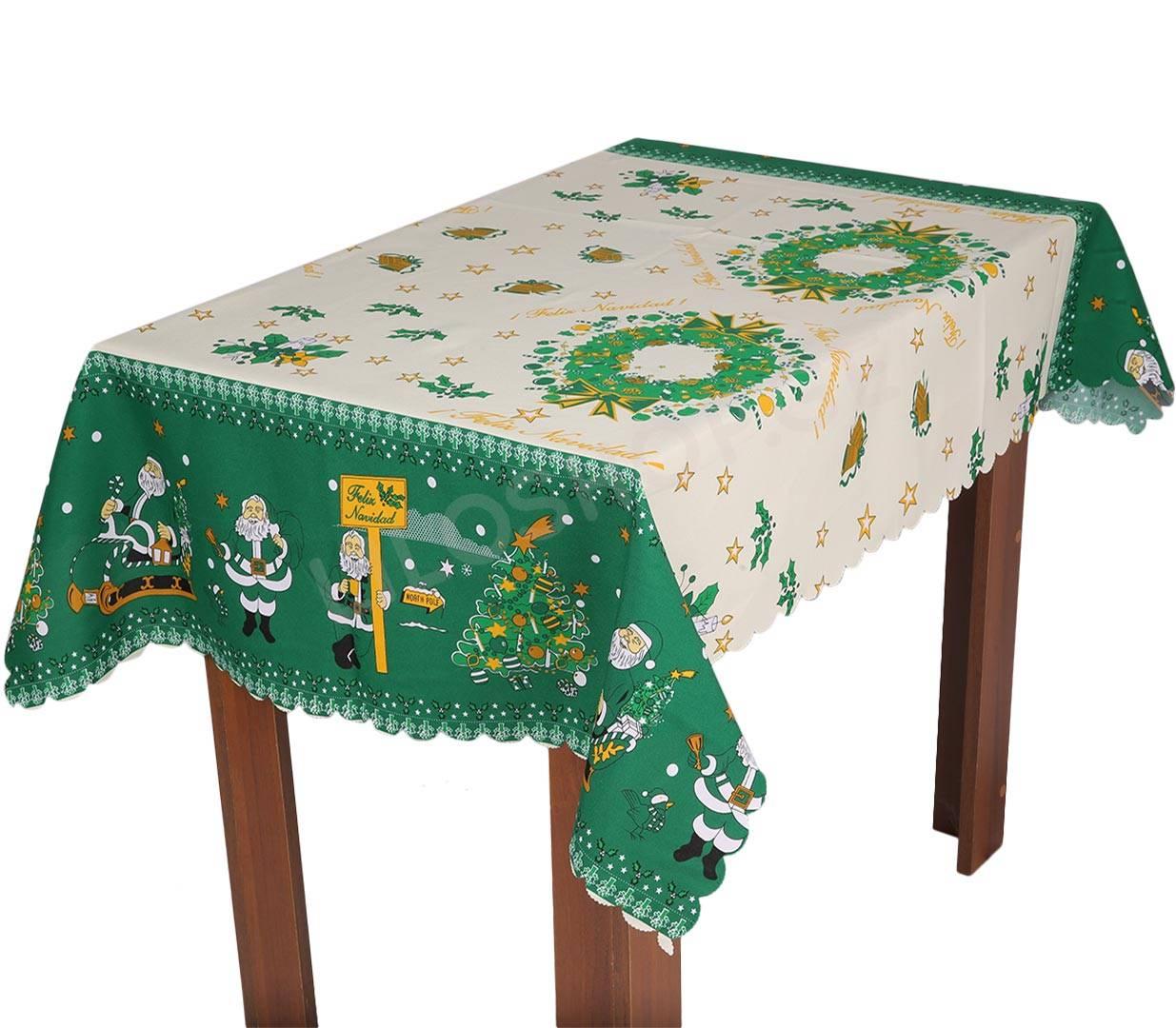 მაგიდის გადასაფარებელი თეთრი საახალწლო მწვანე პრინტით 100 ...